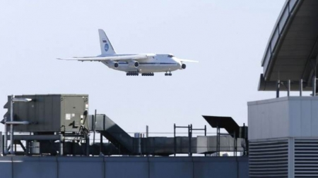 Russian plane lands in US with medical supplies to combat coronavirus