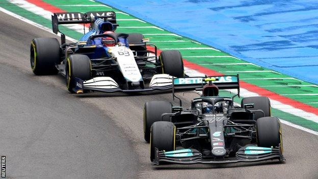 George Russell apologises for Valtteri Bottas crash in Emilia Romagna Grand Prix